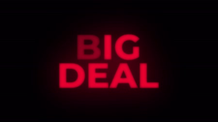 cupom : Big Deal Text Blinking Flickering Neon Red Sign Loop Background. Sale, Discounts, Deals, Special Offers. Green Screen and Alpha Matte