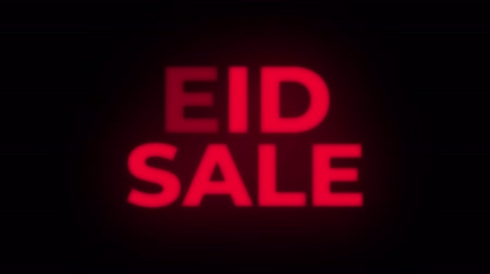 ограничен : Eid Sale Text Blinking Flickering Neon Red Sign Promotional Loop Background. Sale, Discounts, Deals, Special Offers. Green Screen and Alpha Matte