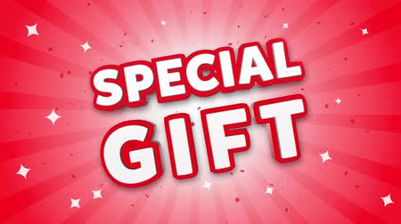 премия : Special Gift 3D Text on Red Sparkling Falling Confetti Background. ad, Promotion, Discount Offer Sale Loop Animation.