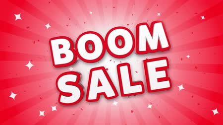 comics pop : Boom Sale 3D Text on Red Sparkling Falling Confetti Background. ad, Promotion, Discount Offer Sale Loop Animation.
