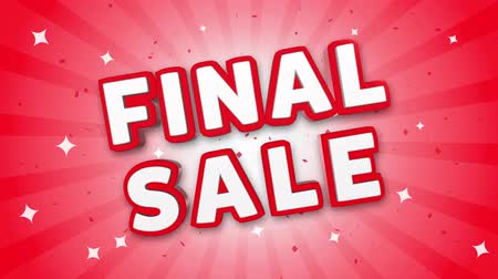 végső : Final Sale 3D Text on Red Sparkling Falling Confetti Background. ad, Promotion, Discount Offer Sale Loop Animation.