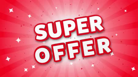 metka : Super Offer 3D Text on Red Sparkling Falling Confetti Background. ad, Promotion, Discount Offer Sale Loop Animation. Wideo