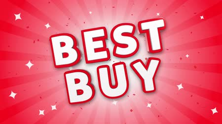 maintenant : Best Buy 3D Text on Red Sparkling Falling Confetti Background. ad, Promotion, Discount Offer Sale Loop Animation.
