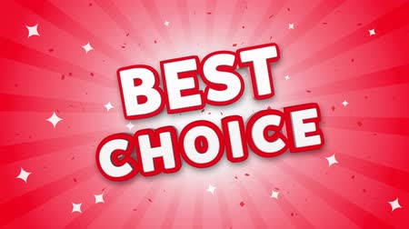 メダル : Best Choice 3D Text on Red Sparkling Falling Confetti Background. ad, Promotion, Discount Offer Sale Loop Animation.
