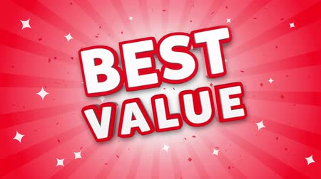 vantagem : Best Value 3D Text on Red Sparkling Falling Confetti Background. ad, Promotion, Discount Offer Sale Loop Animation.