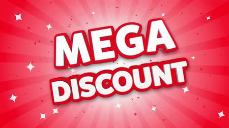 odznak : Mega Discount 3D Text on Red Sparkling Falling Confetti Background. ad, Promotion, Discount Offer Sale Loop Animation.