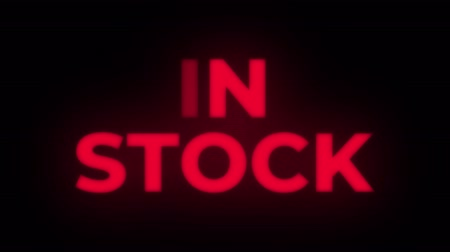 odznak : In Stock Text Blinking Flickering Neon Red Sign Promotional Loop Background. Sale, Discounts, Deals, Special Offers. Green Screen and Alpha Matte