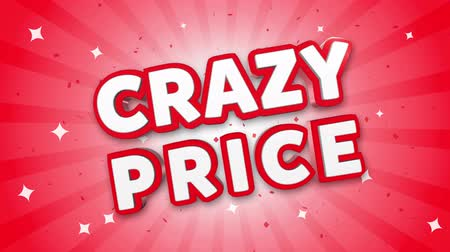 pricetag : Crazy Price 3D Text on Red Sparkling Falling Confetti Background. ad, Promotion, Discount Offer Sale Loop Animation.