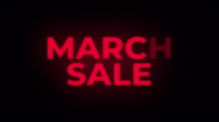 eight : March Sale Text Blinking Flickering Neon Red Sign Loop Background. Sale, Discounts, Deals, Special Offers. Green Screen and Alpha Matte Stock Footage