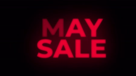 huge sale : May Sale Text Blinking Flickering Neon Red Sign Loop Background. Sale, Discounts, Deals, Special Offers. Green Screen and Alpha Matte