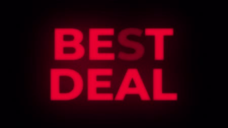alku : Best Deal Text Blinking Flickering Neon Red Sign Promotional Loop Background. Sale, Discounts, Deals, Special Offers. Green Screen and Alpha Matte