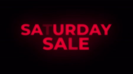 siyah üzerine izole : Saturday Sale Text Blinking Flickering Neon Red Sign Loop Background. Sale, Discounts, Deals, Special Offers. Green Screen and Alpha Matte Stok Video