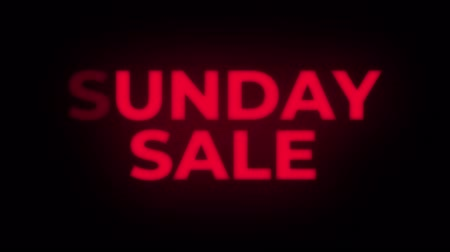 huge sale : Sunday Sale Text Blinking Flickering Neon Red Sign Loop Background. Sale, Discounts, Deals, Special Offers. Green Screen and Alpha Matte