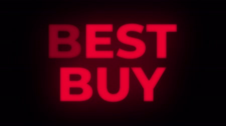 metka : Best Buy Text Blinking Flickering Neon Red Sign Promotional Loop Background. Sale, Discounts, Deals, Special Offers. Green Screen and Alpha Matte