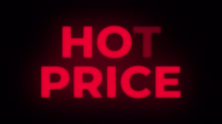 cupom : Hot Price Text Blinking Flickering Neon Red Sign Promotional Loop Background. Sale, Discounts, Deals, Special Offers. Green Screen and Alpha Matte