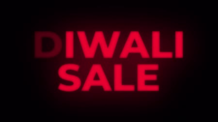 cinquantenne : Diwali Sale Text Blinking Flickering Neon Red Sign Promotional Loop Background. Sale, Discounts, Deals, Special Offers. Green Screen and Alpha Matte Filmati Stock