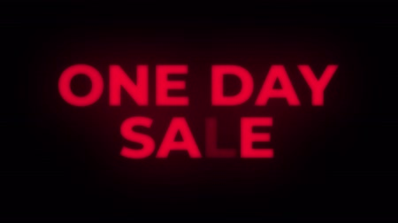 only today : One Day Sale Text Blinking Flickering Neon Red Sign Promotional Loop Background. Sale, Discounts, Deals, Special Offers. Green Screen and Alpha Matte