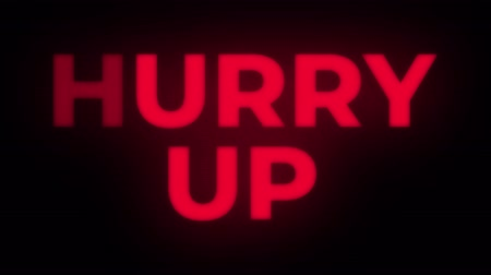 huge sale : Hurry Up Text Blinking Flickering Neon Red Sign Promotional Loop Background. Sale, Discounts, Deals, Special Offers. Green Screen and Alpha Matte Stock Footage
