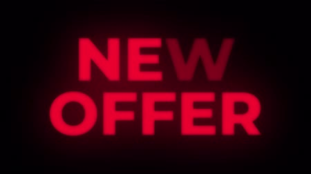 értékesítés : New Offer Text Blinking Flickering Neon Red Sign Promotional Loop Background. Sale, Discounts, Deals, Special Offers. Green Screen and Alpha Matte