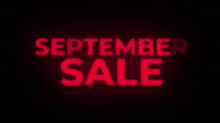 shops : September Sale Text Blinking Flickering Neon Red Sign Loop Background. Sale, Discounts, Deals, Special Offers. Green Screen and Alpha Matte