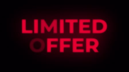promocional : Limited Offer Text Blinking Flickering Neon Red Sign Promotional Loop Background. Sale, Discounts, Deals, Special Offers. Green Screen and Alpha Matte