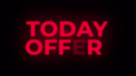 only today : Today Offer Text Blinking Flickering Neon Red Sign Loop Background. Sale, Discounts, Deals, Special Offers. Green Screen and Alpha Matte