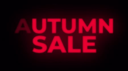 autumn discounts : Autumn Sale Text Blinking Flickering Neon Red Sign Promotional Loop Background. Sale, Discounts, Deals, Special Offers. Green Screen and Alpha Matte