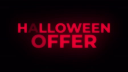 erkeklere özel : Halloween Offer Text Blinking Flickering Neon Red Sign Promotional Loop Background. Sale, Discounts, Deals, Special Offers. Green Screen and Alpha Matte