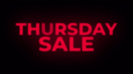 čtvrtek : Thursday Sale Text Blinking Flickering Neon Red Sign Loop Background. Sale, Discounts, Deals, Special Offers. Green Screen and Alpha Matte