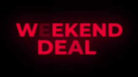 metka : Weekend Deal Text Blinking Flickering Neon Red Sign Promotional Loop Background. Sale, Discounts, Deals, Special Offers. Green Screen and Alpha Matte