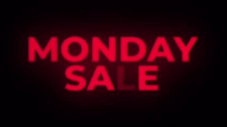 segunda feira : Monday Sale Text Blinking Flickering Neon Red Sign Loop Background. Sale, Discounts, Deals, Special Offers. Green Screen and Alpha Matte