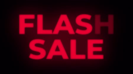 huge sale : Flash Sale Text Blinking Flickering Neon Red Sign Promotional Loop Background. Sale, Discounts, Deals, Special Offers. Green Screen and Alpha Matte