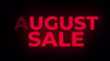 trikolóra : August Sale Text Blinking Flickering Neon Red Sign Loop Background. Sale, Discounts, Deals, Special Offers. Green Screen and Alpha Matte