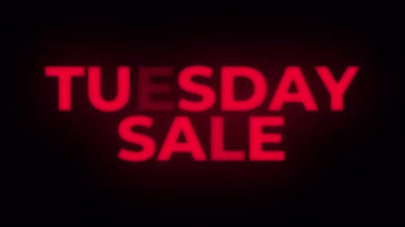 metka : Tuesday Sale Text Blinking Flickering Neon Red Sign Loop Background. Sale, Discounts, Deals, Special Offers. Green Screen and Alpha Matte