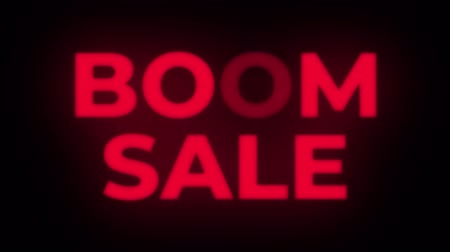 flash sale : Boom Sale Text Blinking Flickering Neon Red Sign Promotional Loop Background. Sale, Discounts, Deals, Special Offers. Green Screen and Alpha Matte