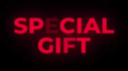 cupom : Special Gift Text Blinking Flickering Neon Red Sign Promotional Loop Background. Sale, Discounts, Deals, Special Offers. Green Screen and Alpha Matte