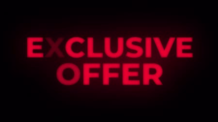 ограничен : Exclusive Offer Text Blinking Flickering Neon Red Sign Promotional Loop Background. Sale, Discounts, Deals, Special Offers. Green Screen and Alpha Matte