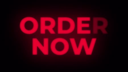 книжный магазин : Order Now Text Blinking Flickering Neon Red Sign Promotional Loop Background. Sale, Discounts, Deals, Special Offers. Green Screen and Alpha Matte Стоковые видеозаписи