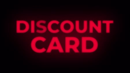 prim : Discount Card Text Blinking Flickering Neon Red Sign Promotional Loop Background. Sale, Discounts, Deals, Special Offers. Green Screen and Alpha Matte