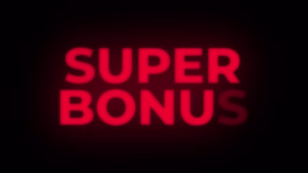 pricetag : Super Bonus Text Blinking Flickering Neon Red Sign Loop Background. Sale, Discounts, Deals, Special Offers. Green Screen and Alpha Matte Stock Footage
