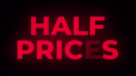 azaltmak : Half Prices Text Blinking Flickering Neon Red Sign Promotional Loop Background. Sale, Discounts, Deals, Special Offers. Green Screen and Alpha Matte Stok Video