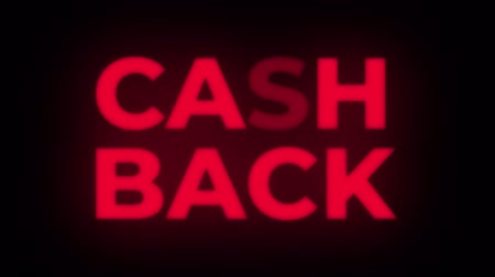 возвращение : Cash Back Text Blinking Flickering Neon Red Sign Promotional Loop Background. Sale, Discounts, Deals, Special Offers. Green Screen and Alpha Matte Стоковые видеозаписи