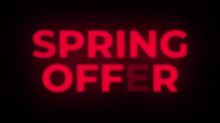 metka : Spring Offer Text Blinking Flickering Neon Red Sign Promotional Loop Background. Sale, Discounts, Deals, Special Offers. Green Screen and Alpha Matte