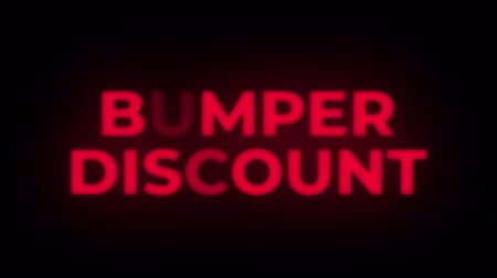 ötvenes : Bumper Discount Text Blinking Flickering Neon Red Sign Promotional Loop Background. Sale, Discounts, Deals, Special Offers. Green Screen and Alpha Matte
