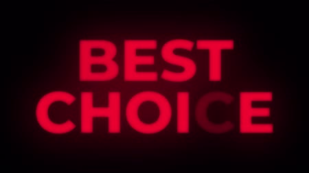 értékesítés : Best Choice Text Blinking Flickering Neon Red Sign Promotional Loop Background. Sale, Discounts, Deals, Special Offers. Green Screen and Alpha Matte