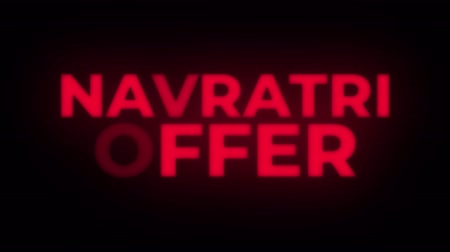 puja : Navratri Offer Text Blinking Flickering Neon Red Sign Promotional Loop Background. Sale, Discounts, Deals, Special Offers. Green Screen and Alpha Matte