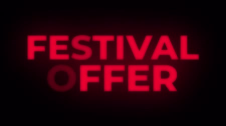 cinquantenne : Festival Offer Text Blinking Flickering Neon Red Sign Promotional Loop Background. Sale, Discounts, Deals, Special Offers. Green Screen and Alpha Matte