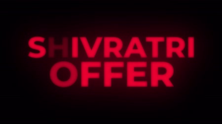 metka : Shivratri Offer Text Blinking Flickering Neon Red Sign Promotional Loop Background. Sale, Discounts, Deals, Special Offers. Green Screen and Alpha Matte Wideo
