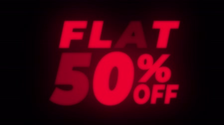 ötvenes : Flat 50% Percent Off Text Blinking & Flickering Neon Red Sign Promotional Loop Background. Sale, Discounts, Deals, Special Offers. Green Screen and Alpha Matte