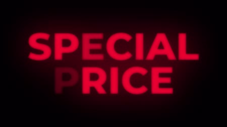 cupom : Special Price Text Blinking Flickering Neon Red Sign Promotional Loop Background. Sale, Discounts, Deals, Special Offers. Green Screen and Alpha Matte